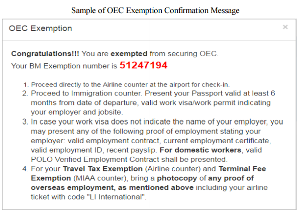 oec exemption confirmation message