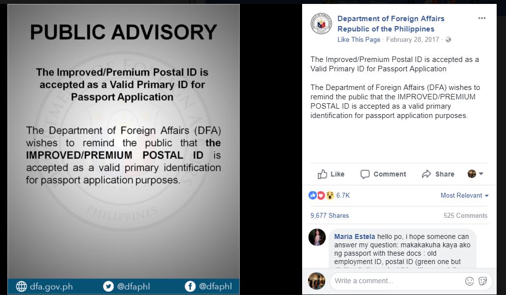 DFA Accepts Postal ID (digitized, premium)